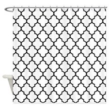 Black and white Quatrefoil Shower Curtain