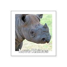 "Love Rhinos Square Sticker 3"" x 3"""