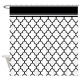 Black quatrefoil Shower Curtains
