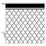 Black quatrefoil Shower Curtains
