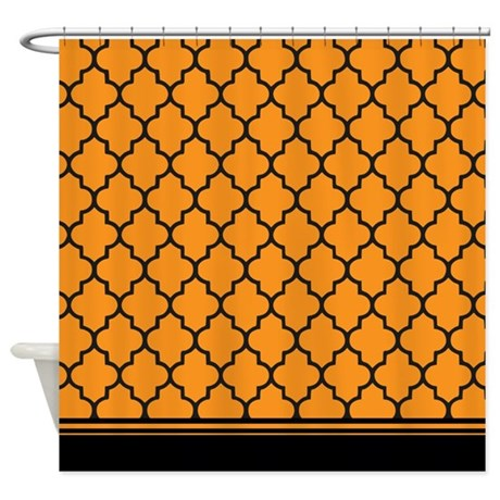 Orange And Black Quatrefoil Shower Curtain By