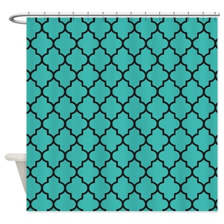 Teal Quatrefoil Shower Curtain By InspirationzStore