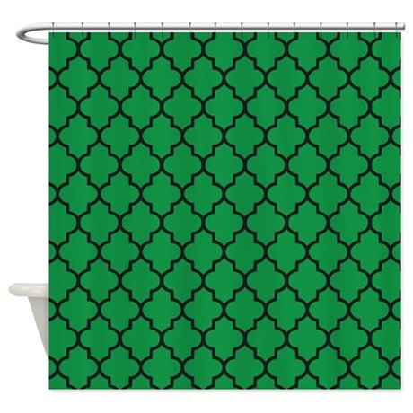 green and black quatrefoil shower curtain by inspirationzstore