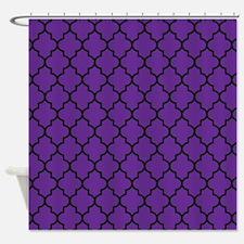 Dark Purple Quatrefoil Shower Curtain