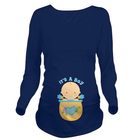 Its A Boy Baby Flower Pot Long Sleeve Maternity T-