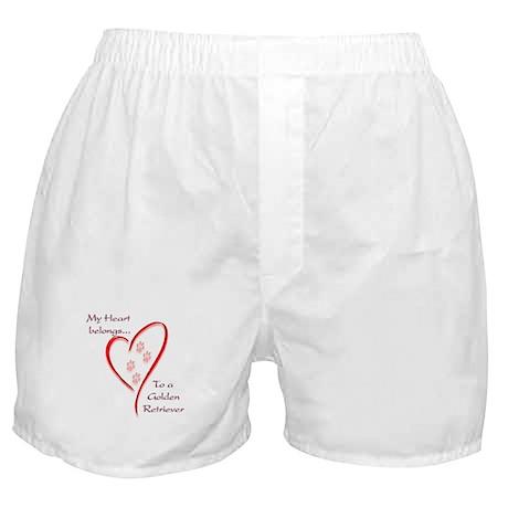 Golden Retriever Heart Belongs Boxer Shorts