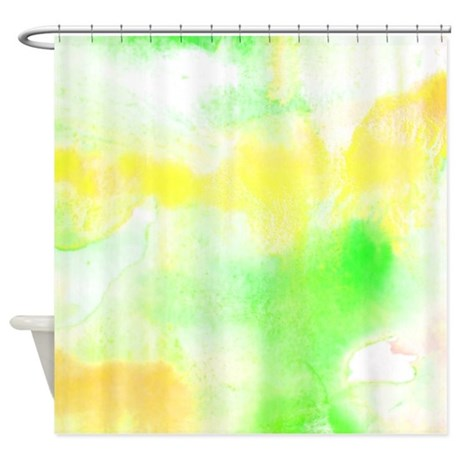 Bright Green And Yellow Watercolor Shower Curtain By