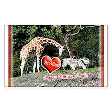 Helaines' Giraffe/Zebra Valen Sticker (Rectangular
