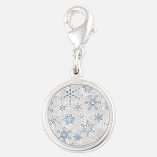 Elegant Blue and Silver Snowflake Glitz Print Char