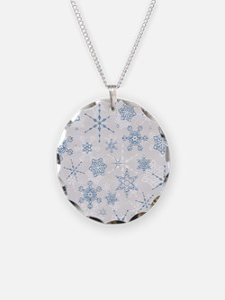 Elegant Blue and Silver Snowflake Glitz Print Neck