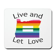 Oregon live let love blk font Mousepad