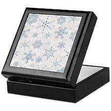 Elegant Blue and Silver Snowflake Glitz Print Keep