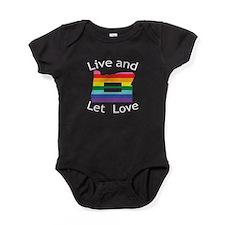 Oregon live let love wht font Baby Bodysuit