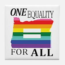 Oregon one equality blk font Tile Coaster