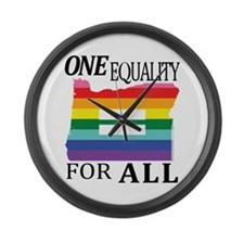 Oregon one equality blk font Large Wall Clock