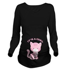 Its A Girl Pink Kitten Long Sleeve Maternity T-Shi