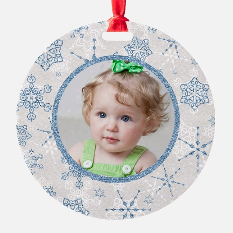 Cute Christmas snowflake photo Ornament