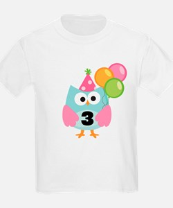 3rd Birthday Owl with Balloons T-Shirt