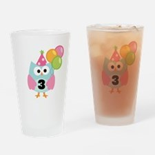 3rd Birthday Owl with Balloons Drinking Glass