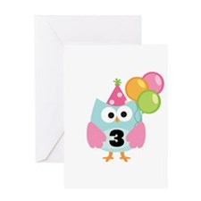 3rd Birthday Owl with Balloons Greeting Card