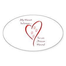 Ibizan Heart Belongs Oval Decal