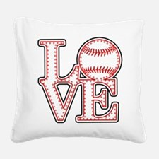 Love Baseball Classic Square Canvas Pillow