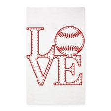 Love Baseball Laces Light 3'x5' Area Rug