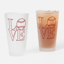 Love Baseball Laces Light Drinking Glass
