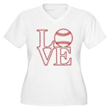 Love Baseball Laces Light Plus Size T-Shirt