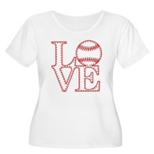 Love Baseball Laces Light Plus Size T-Shirt