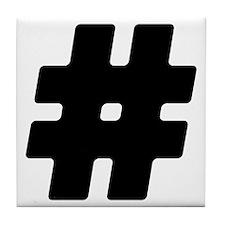 Black #Hashtag Tile Coaster