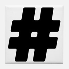 Black #Hashtag Tile Coaster