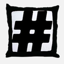 Black #Hashtag Throw Pillow