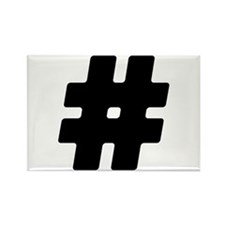 Black #Hashtag Rectangle Magnet