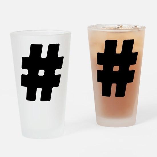 Black #Hashtag Drinking Glass