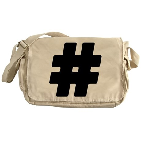 Black #Hashtag Canvas Messenger Bag