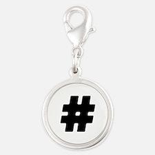 Black #Hashtag Silver Round Charm