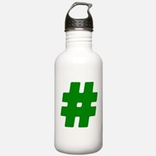 Green #Hashtag Water Bottle