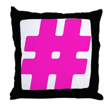 hot pink hashtag throw pillow