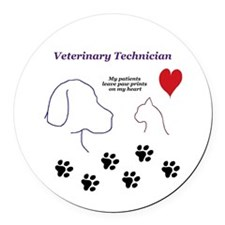 Veterinary Technician-Paw Prints  Round Car Magnet