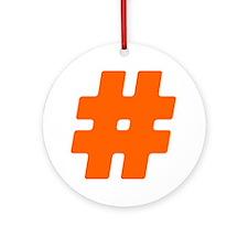 Orange #Hashtag Round Ornament