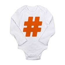Orange #Hashtag Long Sleeve Infant Bodysuit