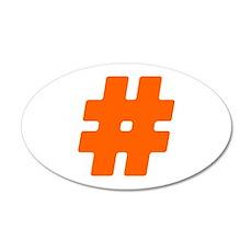 Orange #Hashtag 22x14 Oval Wall Peel