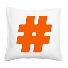 Orange #Hashtag Square Canvas Pillow