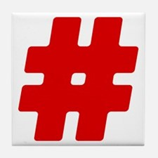 Red #Hashtag Tile Coaster