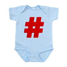 Red #Hashtag Infant Bodysuit