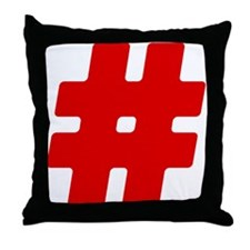 Red #Hashtag Throw Pillow
