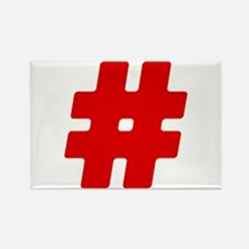 Red #Hashtag Rectangle Magnet