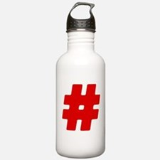 Red #Hashtag Water Bottle