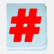 Red #Hashtag Infant Blanket